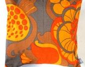 "Decorative throw pillow cover orange brown retro pillowcase no 25 - 16"" x 16"""