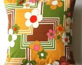 """Decorative throw pillow cover brow green retro pillowcase no 60 - 16"""" x 16"""""""