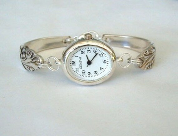 Silver spoon bracelet watch recycled silverware jewelry - Handmade gs silverware ...