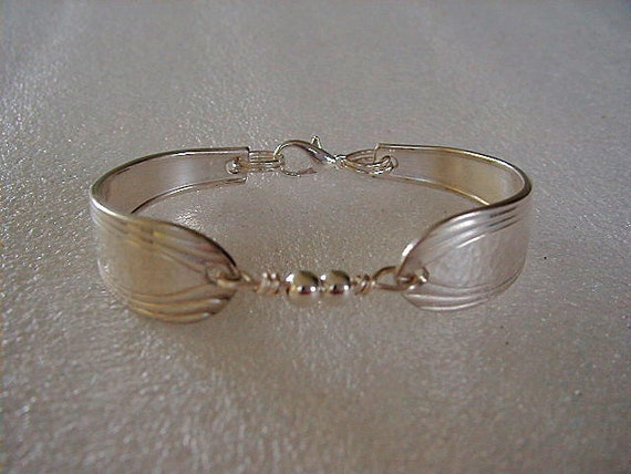 Spoon Bracelet Recycled Silver Spoons Sterling Beads Fascination Made to Order