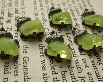Vintage lime green lucite silver coloured charms