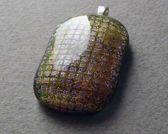 Lilac green dichroic glass pendant