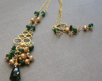 Gold and green necklace