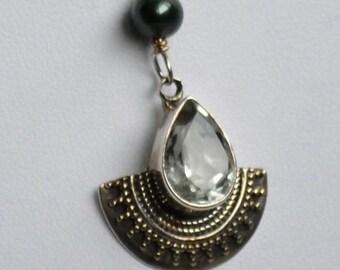 Bali sterling silver Prasiolite pendant necklace - ON SALE