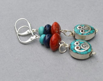 Nepalese Turquoise Earrings - ON SALE