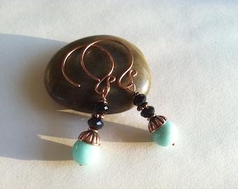 Copper and Opal earrings