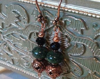Copper Malachite earrings