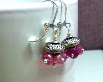 Amrapali - Pink Sapphire Sterling silver earrings