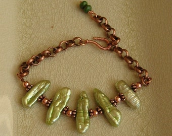 Peridot colored Biwa pearls and Copper bracelet ON SALE