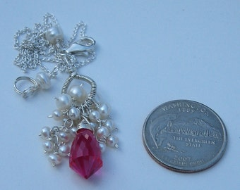 Pink Topaz briolette and ivory freshwater pearl necklace