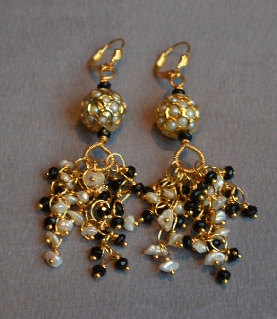 Spinel And Ivory Pearl Waterfall Chandelier Earrings