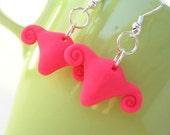 Uterine Love Earrings - Tiny Shimmery Hot Pink Uteri