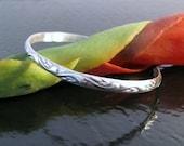 Sterling Silver Cuff Bracelet - Puffed Swirl and Leaf Design