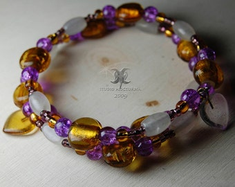 Purple and gold glass with snow quartz beaded memory wire bracelet