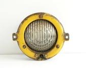 Vintage  Railroad Light ,Industrial Yellow Metal