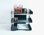 Desk Tray Organizer, Triple File, Teal Turquoise Blue