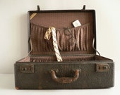 Antique Black Leather Suitcase, 1930s Era
