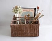 Wicker Desk Top File Organizer Basket