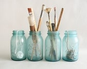 Frosted Turquoise Blue Canning Jars, Set of Four