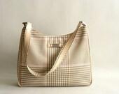 Beige Hounds-tooth Handbag by Ralph Lauren