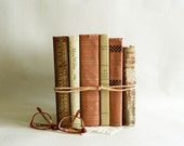Home Decor Vintage Books, Neutral Shades Old Book Collection, Set of 6