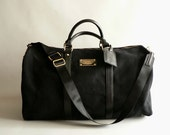 Women's Black Canvas Duffel Bag, Large Overnight Tote