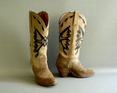 Women's Tan Cowboy Boots, Tan Leather Western Boots, Size 6