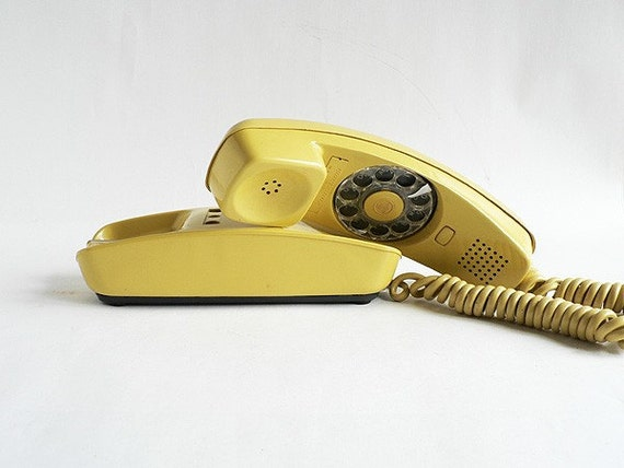 1970s Trimline Yellow Telephone, Canary Yellow Rotary Phone