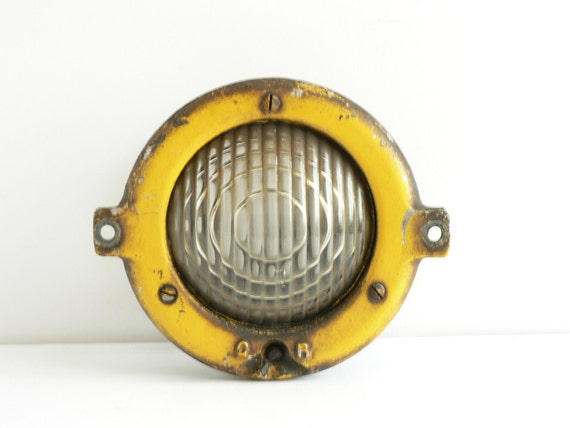Vintage  Railroad Light ,Industrial Yellow Metal