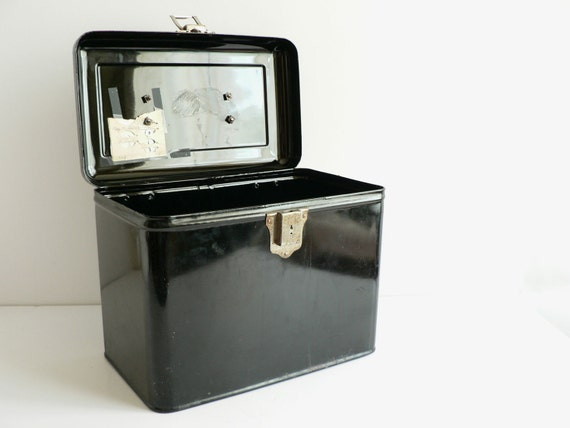 Black Metal File Box, Antique Lock Box With Key