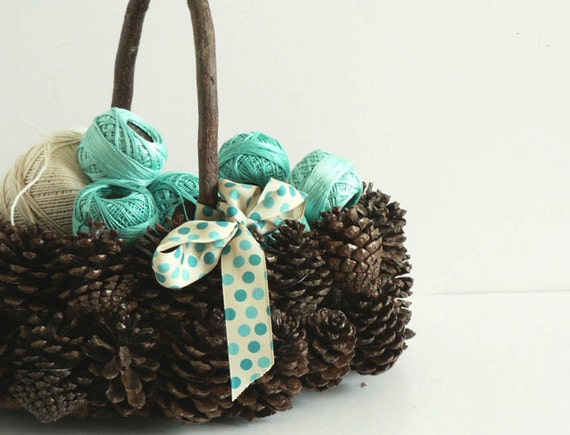 Vintage Wood Pinecone  Basket