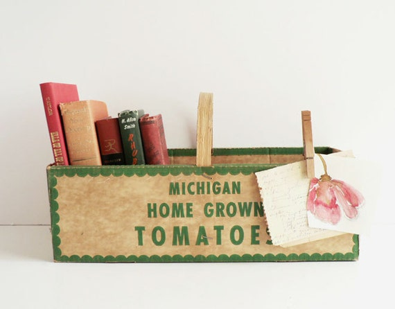 Rustic Farm Market Basket, Cardboard With Wood Handle