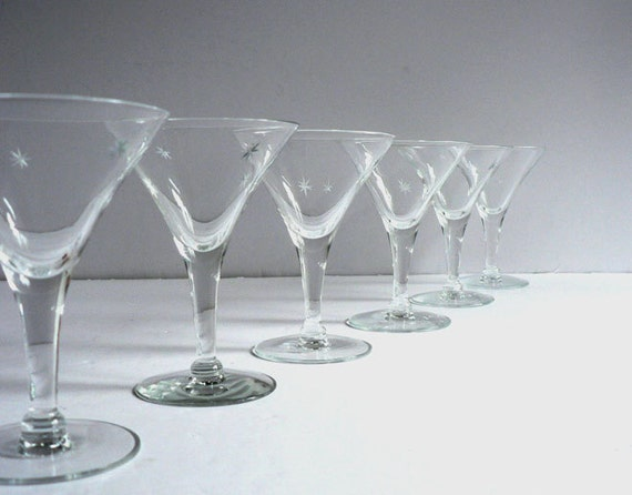 Vintage Crystal Martini Glasses With Cut Stars,  Set of 6