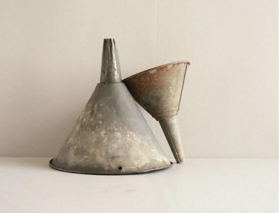 Industrial Metal Funnels, Set of Two