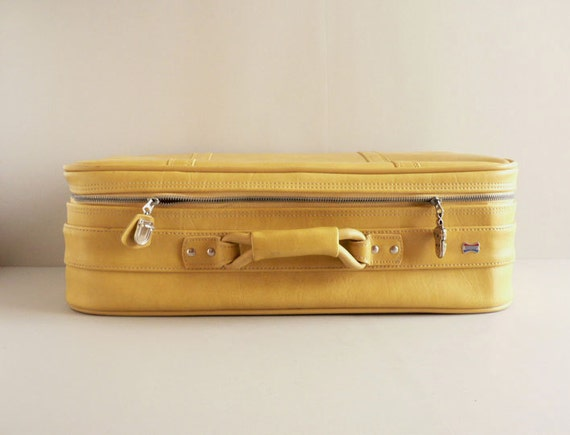 American Tourister Yellow Faux Leather Suitcase