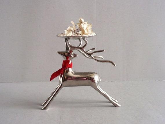 Silver Metal Reindeer Figurine Candle Holder by Etsplace on Etsy