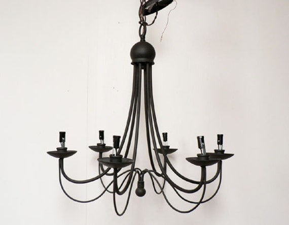 Marvelous Item Details; Reviews(709); Shipping U0026 Policies. Vintage Black Metal  Chandelier Light Fixture