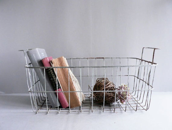 Vintage Wire Basket, Metal Basket, Industrial Basket