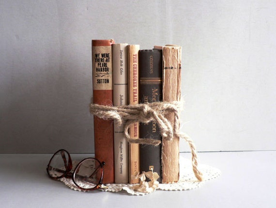 Home Decor Vintage Books, Neutral Shades Old Book Collection, , Set of 5