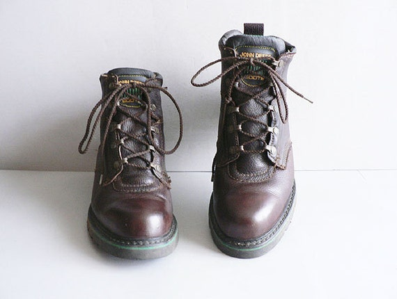 Men's Vintage Brown Oxblood Leather Boots, Lace-Up  Size 10W