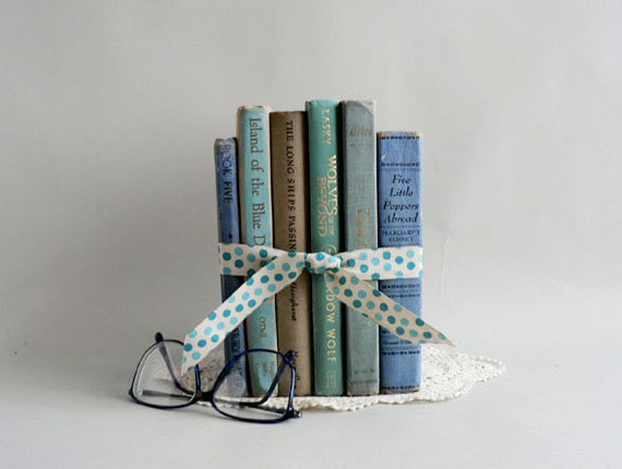 Turquoise/ Blues Book Set,  Home Decor Book Collection