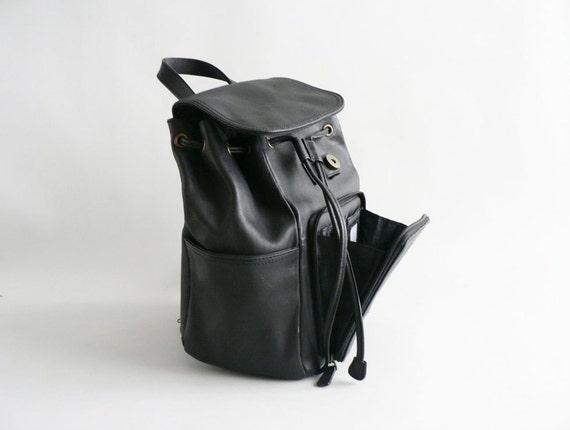 Women's Black Leather Shoulder Bag / Backpack Purse