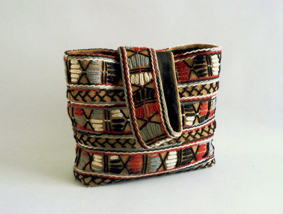Canvas Tribal Purse,  Embroidered Yarn Aztec Handbag