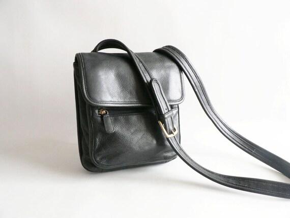 Black Leather Shoulder Cross Body Bag