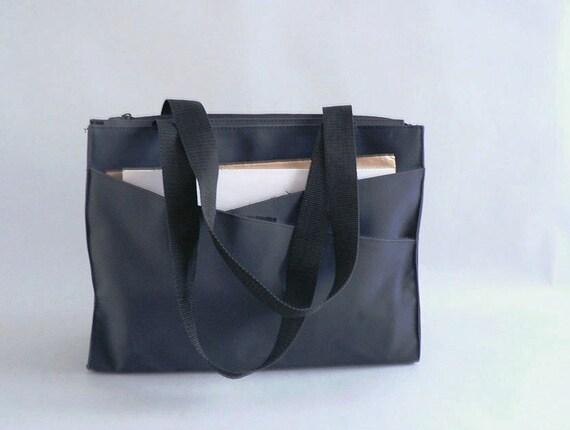 Vintage Navy Shoulder Tote Bag