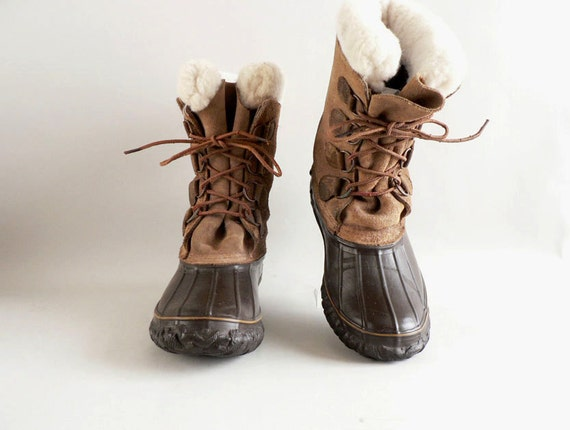 Brown Lace- Up Duck Boots, Size 8