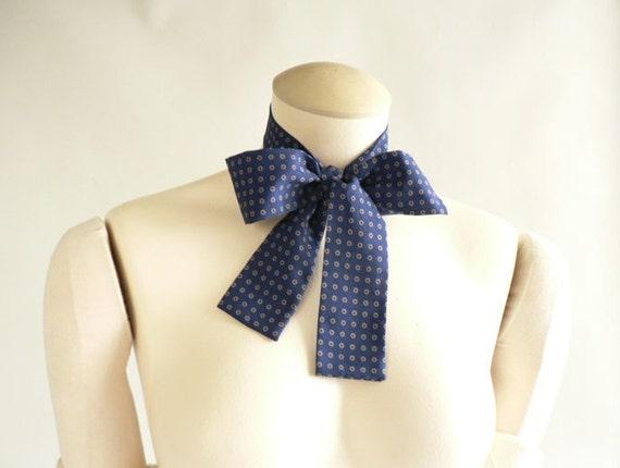 Women's Vintage  Blue Bow-tie Scarf