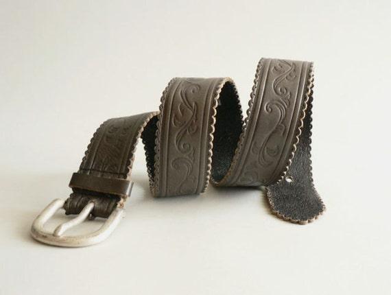 Womens Western Gray Leather Belt
