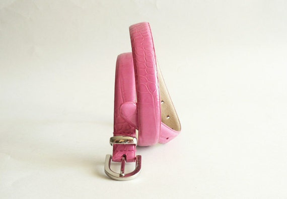 Women's Hot Pink Leather Skinny Belt by Perry Ellis