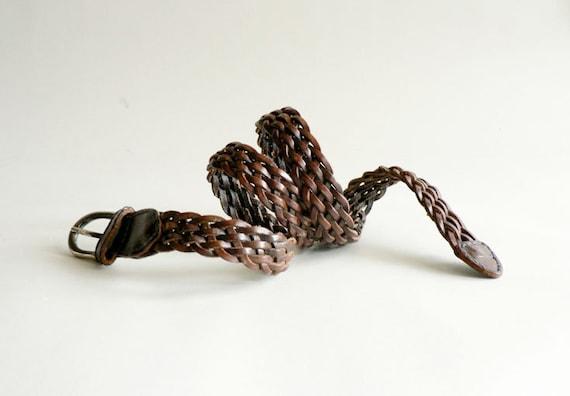 Womens Brown Woven Leather Belt,  Size Medium